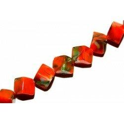 Octogone 8 mm orange/vert décoré x 4