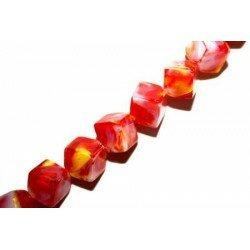 Octogone 8 mm rouge/blanche décoré x 4
