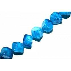 Octogone 8 mm bleu décoré x 4