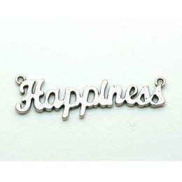 Breloque happiness 52x14 mm argenté vieilli x 1