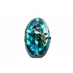 Olive plate décorée 27x17x9 mm blue zircon x 2