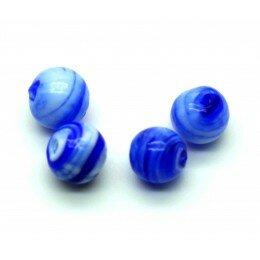 Ronde 12 mm bleu marine et blanche x 4