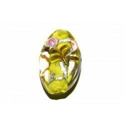 Olive plate décorée 27x17x9 mm jaune x 2