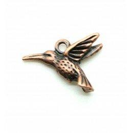 Breloque oiseaux en métal couleur cuivré 14x19 mm x 2