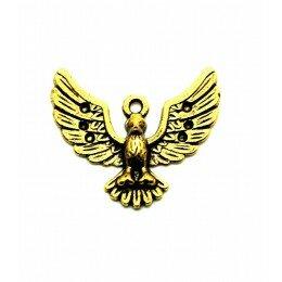 Perle en métal doré vieilli, oiseaux 24x27 mm x 1