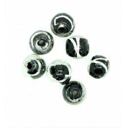 Perle Ronde irisée 8 mm noir x 5