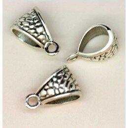 Perle décorée pour breloque 14x9 mm argenté vieilli x 4