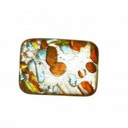 Perle rectangle 18x13 mm jaune/argenté x 1