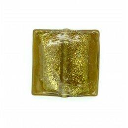Carré plat feuille d'argent 20 mm olivine x 2