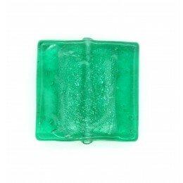 Carré plat feuille d'argent 20 mm couleur vert menthe x 2