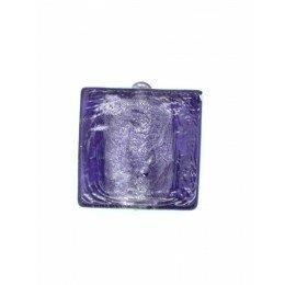 Carré plat feuille d'argent 15 mm violet x 2