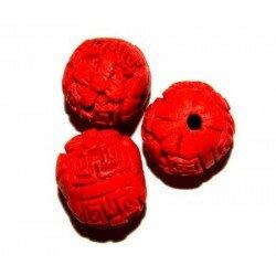 Ronde gravée 12 mm cire moulée rouge x 3