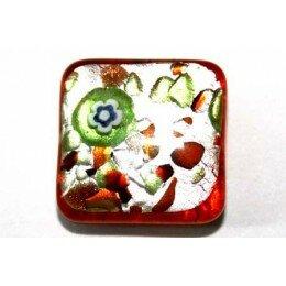 perle Carrée 14 mm orange/argenté x 2