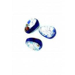 Goutte 13,5x10 mm bleu marine/argentée x 1