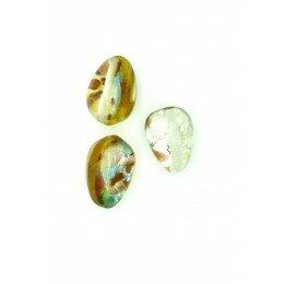 Goutte 13,5x10 mm jaune/argentée x 1
