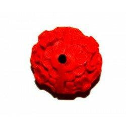 Soucoupe bombée gravée 17x9 mm cire moulée rouge x 3