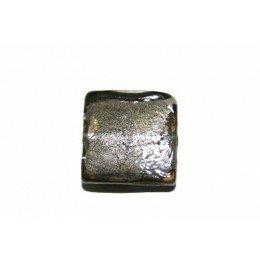 Perle en verre carré 15 mm gris x 2