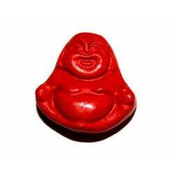Bouddha plat 21x21x10 mm cire moulée rouge x 1