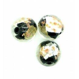 Perle ronde verre 12 mm noir x 1