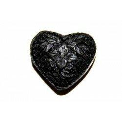 Cœur plat gravé 27x23x14 mm cire moulée noire x 1