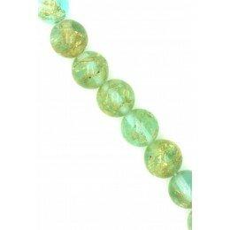 Perle en verre ronde couleur vert d'eau 10mm x 2