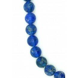 Perle en verre ronde couleur bleu 10mm x 2