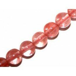 Perle Quartz strawberry ronde 12 mm x 2