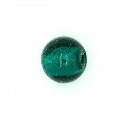 Perle ronde verre 10 mm vert bouteille x 6