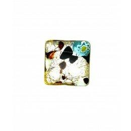 Perle en verre carrée 12 mm jaune/argenté/noir x 1