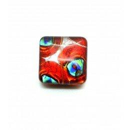 Perle verre carré 16 mm marron argenté x 1