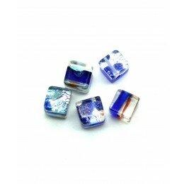 cube 6 mm bleu marine argenté x 5