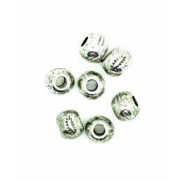 Perle intercalaire ronde 5,5x6 mm couleur argenté antique x 6