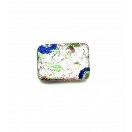 Perle rectangle 18x13 mm mauve/argenté x 1
