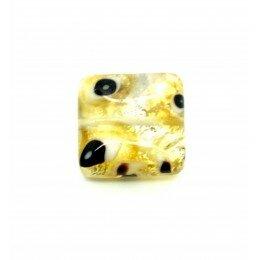 perle Carrée 16 mm jaune/argenté x 2