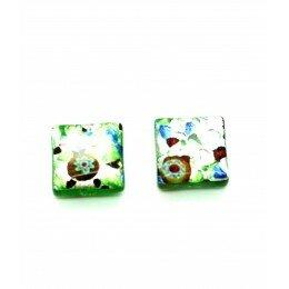 perle Carrée 14 mm vert argenté x 1