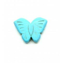 Perle papillon en howlite turquoise 26x20 mm x 1