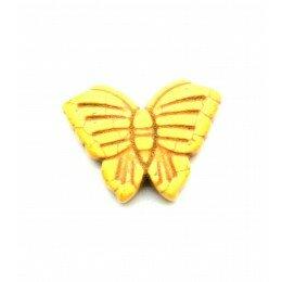 Perle papillon en howlite jaune 26x20 mm x 1