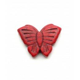 Perle papillon en howlite rouge 26x20 mm x 1