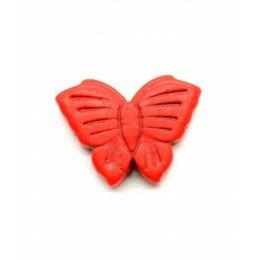 Perle papillon en howlite orange 26x20 mm x 1