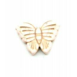 Perle papillon en howlite blanc rosé 26x20 mm x 1