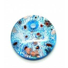 Pendentif rond en verre bleu lagon feuille d'argent 41x10 mm