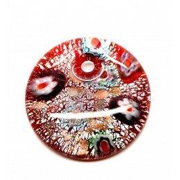 Pendentif rond en verre rouge feuille d'argent 41x10 mm