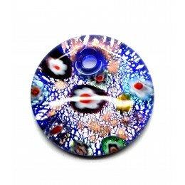 Pendentif rond en verre bleu marine feuille d'argent 41x10 mm