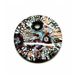 Pendentif rond en verre noir feuille d'argent 41x10 mm