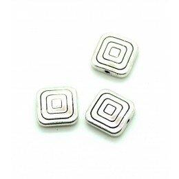 Perle carrée métal 12,5 mm argenté vieilli x 2