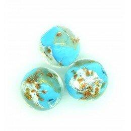 Perle ronde verre 8 mm bleu claire x 1