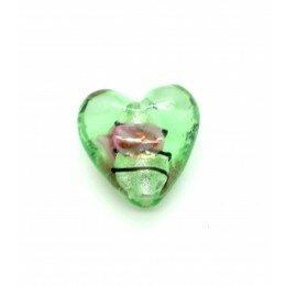 Perle Cœur feuille d'argent 20 mm vert x 1