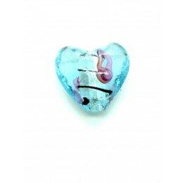 Perle Cœur feuille d'argent 20 mm bleu x 1