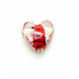 Perle Cœur en verre 20 mm rouge x 1
