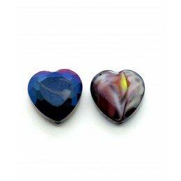 Perle en verre coeur à facettes 16 mm violet x 1